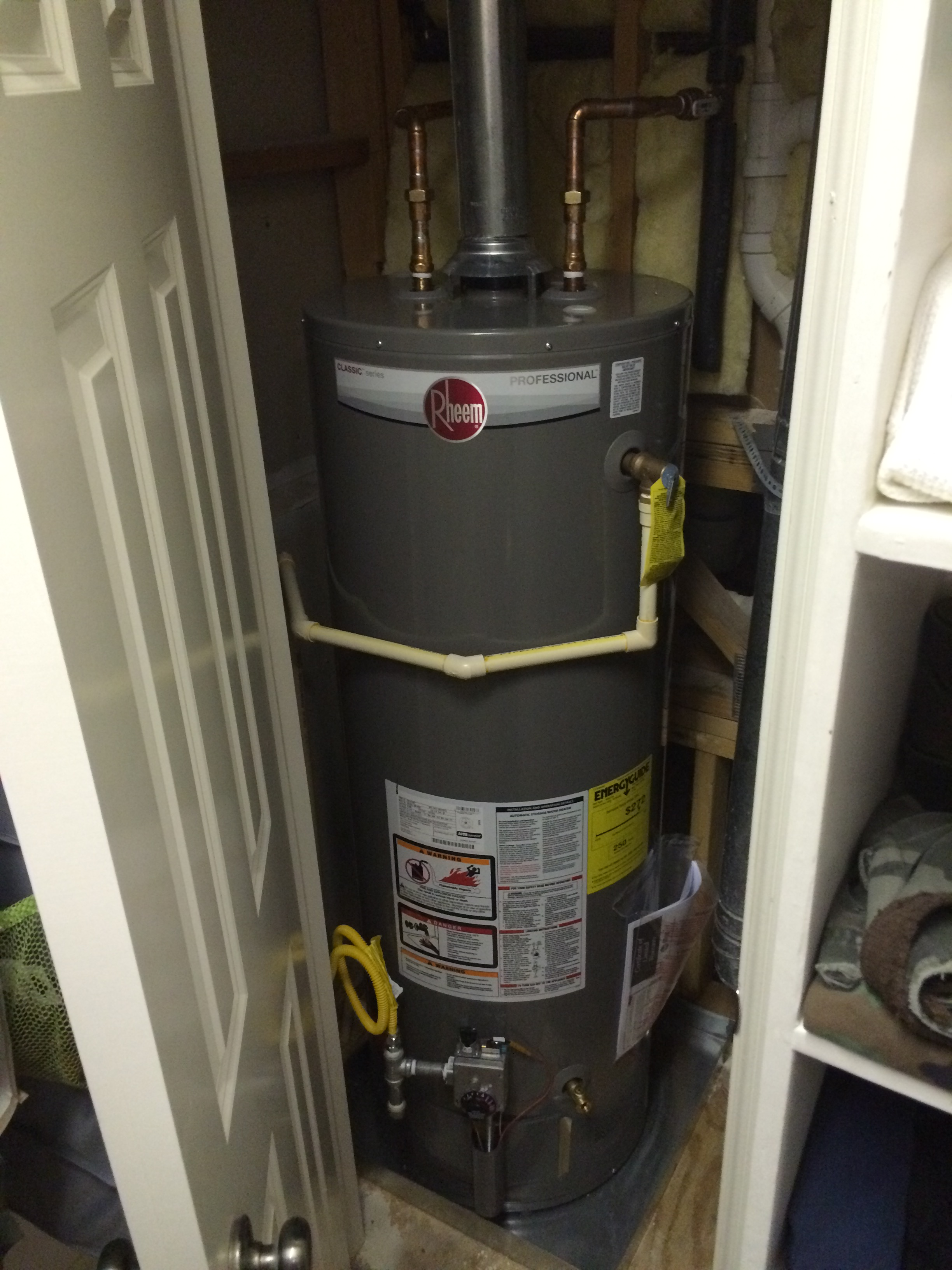 ... Tank Type Water Heater Installed In Closet Space ...